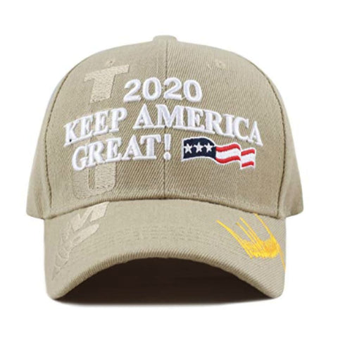 Image of New! 2020 Keep America Great 3D Cap With Trump Signature (Color Choices) - Khaki