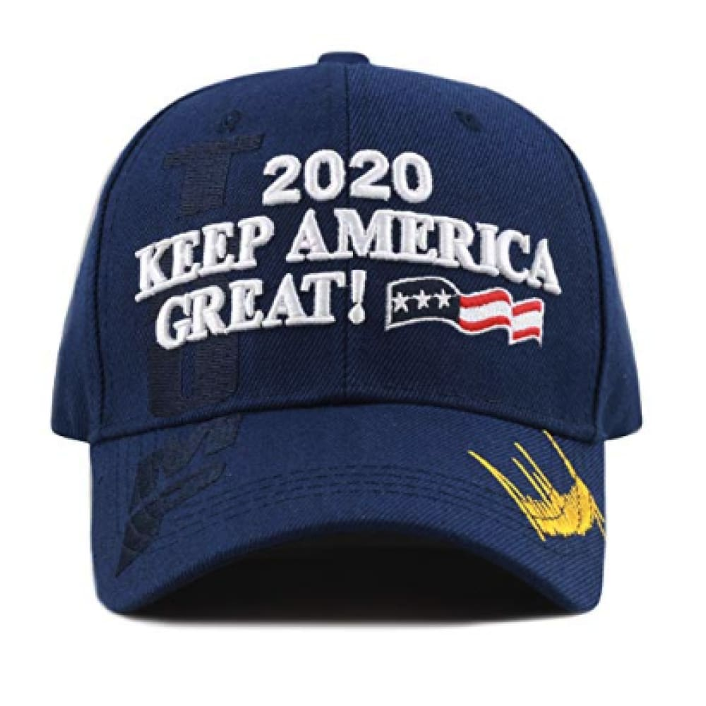 New! 2020 Keep America Great 3D Cap With Trump Signature (Color Choices) - Navy