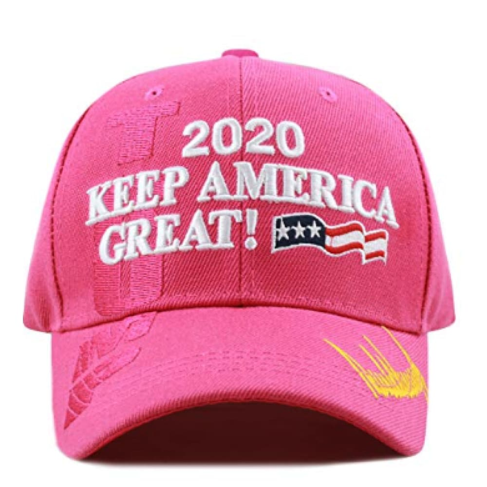 New! 2020 Keep America Great 3D Cap With Trump Signature (Color Choices) - Pink