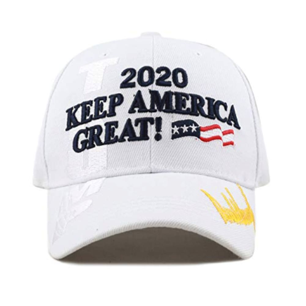 New! 2020 Keep America Great 3D Cap With Trump Signature (Color Choices) - White