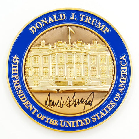 President Donald J. Trump White House POTUS Signed Challenge Coin WITH Presidential Seal Lapel Pin