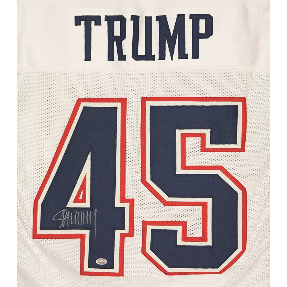 President Donald Trump SIGNED Autographed White #45 Custom Football Jersey