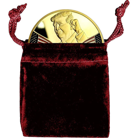 Image of President Trump 2020 Re-Election Coin In Velvet Bag