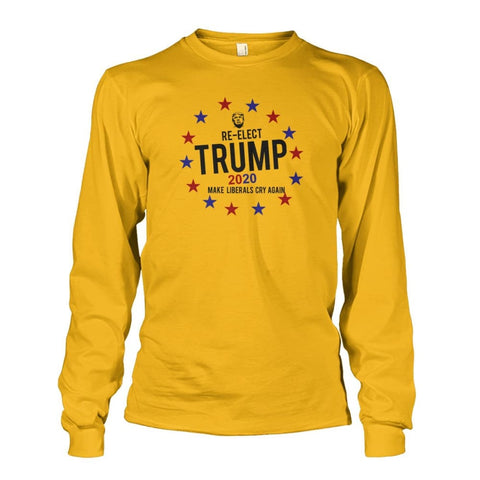Image of Re-Elect Trump 2020 Long Sleeve - Gold / S - Long Sleeves