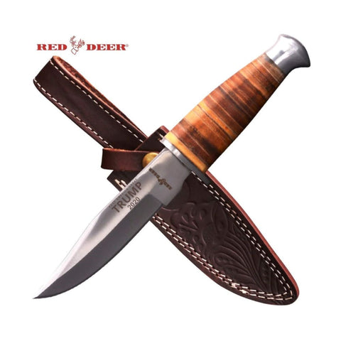 Image of RED DEER Trump Keep America Great 2020 Hunting Knives - Trump 2020 10 Inches Wood Handle Hunting Knife