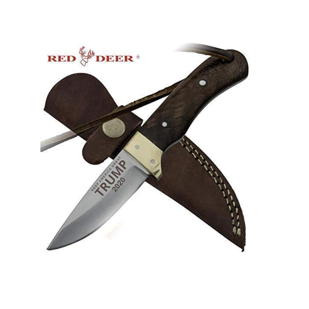 RED DEER Trump Keep America Great 2020 Hunting Knives - Trump 2020 6.5 Inches Brown Wood Handle Hunting Knife