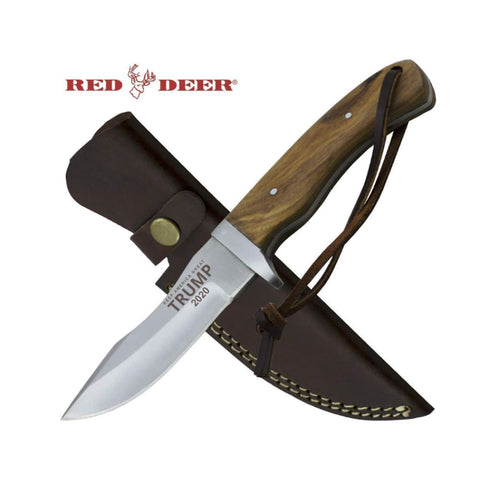 Image of RED DEER Trump Keep America Great 2020 Hunting Knives - Trump 2020 8.5 Inches Brown Wood Handle Hunting Knife