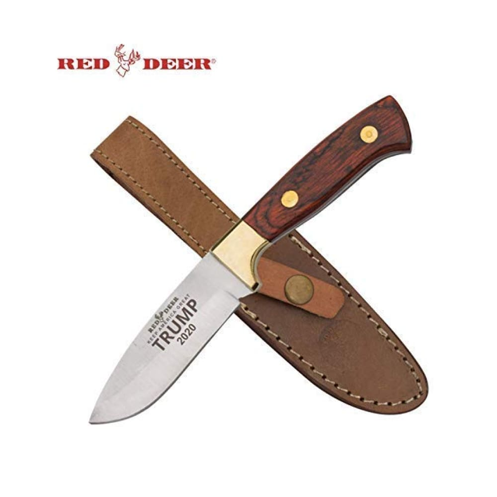 RED DEER Trump Keep America Great 2020 Hunting Knives - Trump 2020 8.5 Inches Dark Brown Wood Handle Hunting Knife