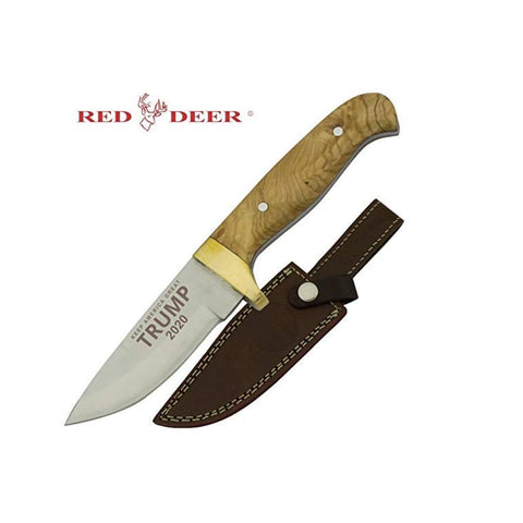 Image of RED DEER Trump Keep America Great 2020 Hunting Knives - Trump 2020 8 Inches Light Brown Wood Handle Hunting Knife