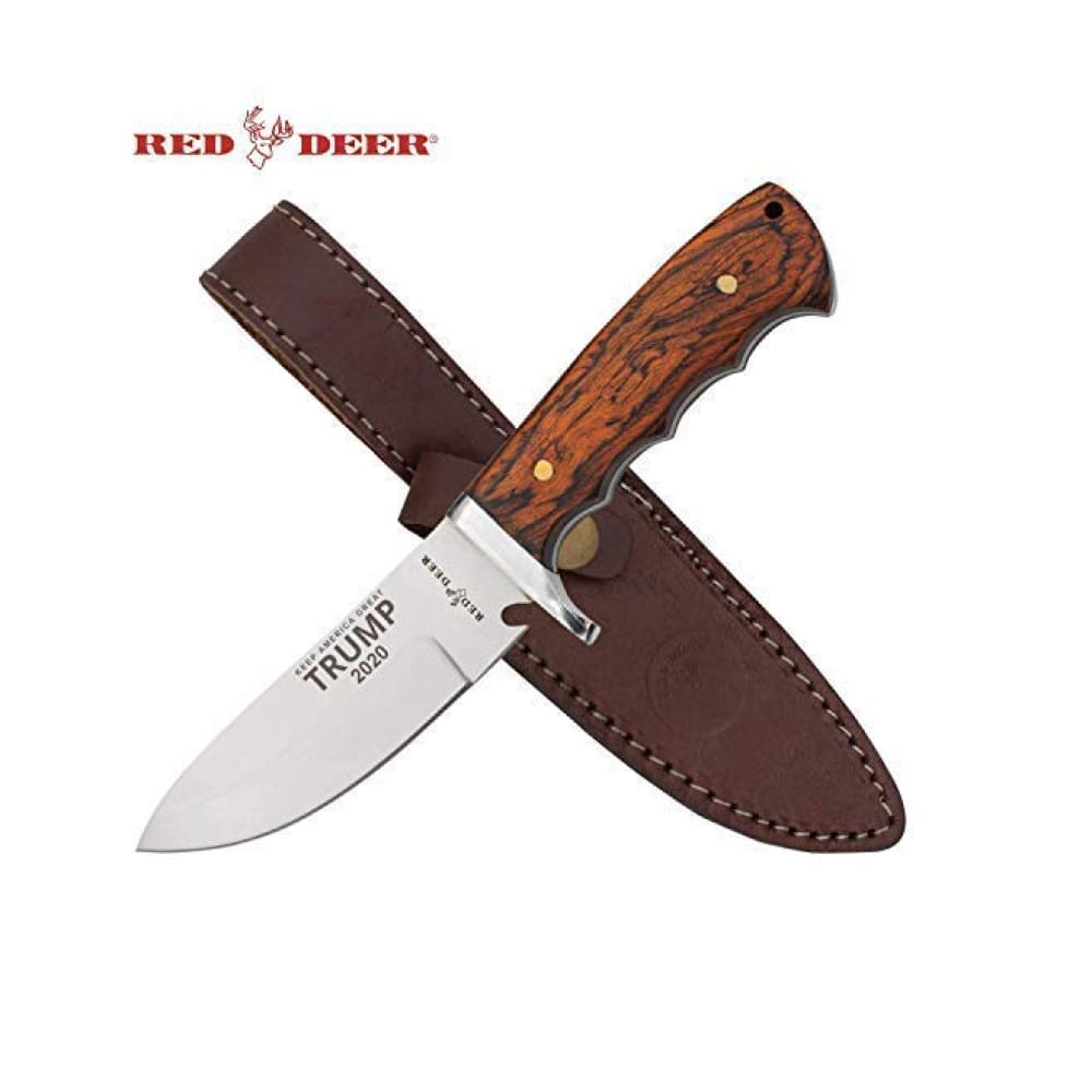 RED DEER Trump Keep America Great 2020 Hunting Knives - Trump 2020 9 Inches Dark Brown Wood Handle Hunting Knife