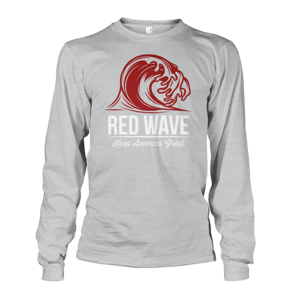 Red Wave Keep America Great Long Sleeve - Ash Grey / S / Unisex Long Sleeve - Long Sleeves