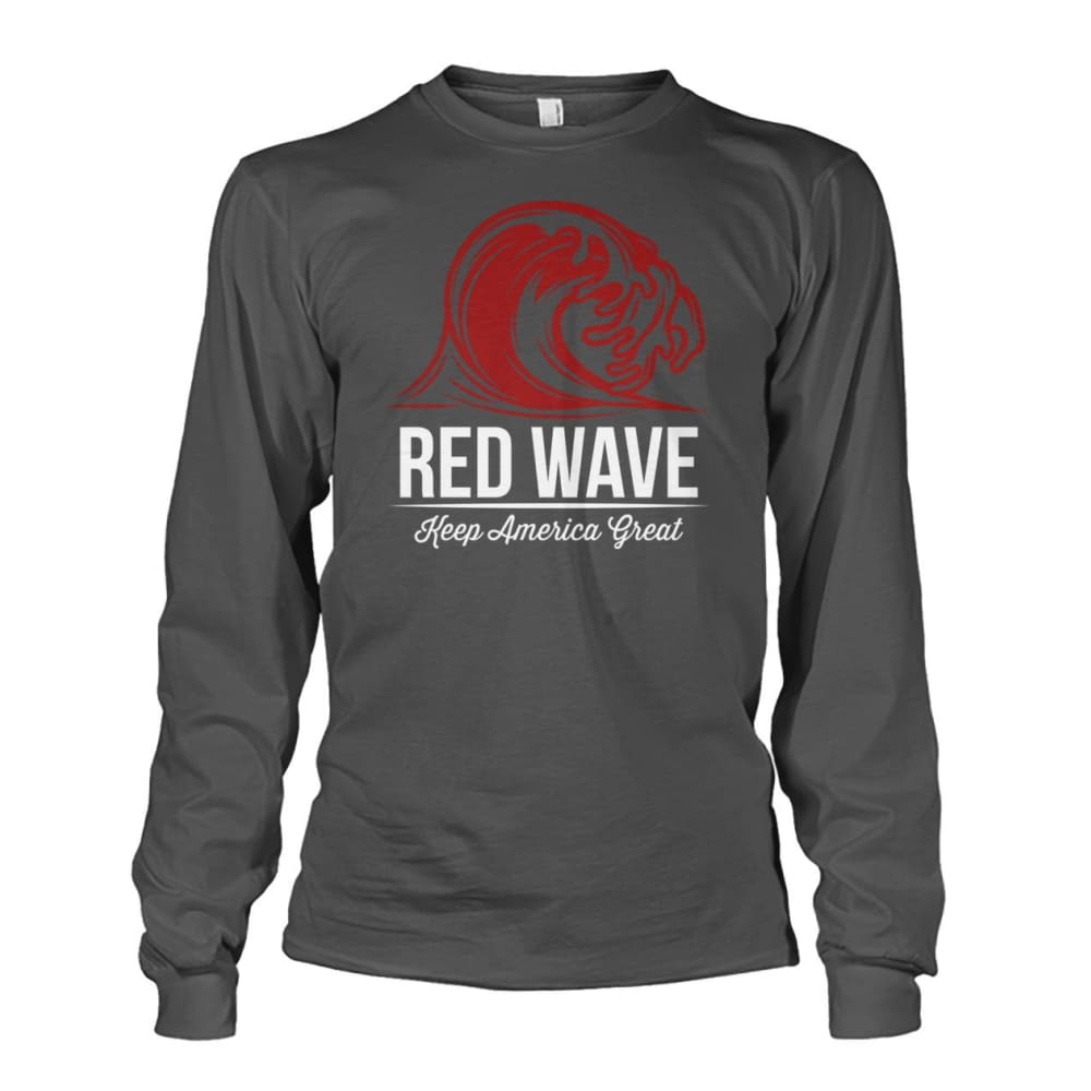 Red Wave Keep America Great Long Sleeve - Charcoal / S / Unisex Long Sleeve - Long Sleeves
