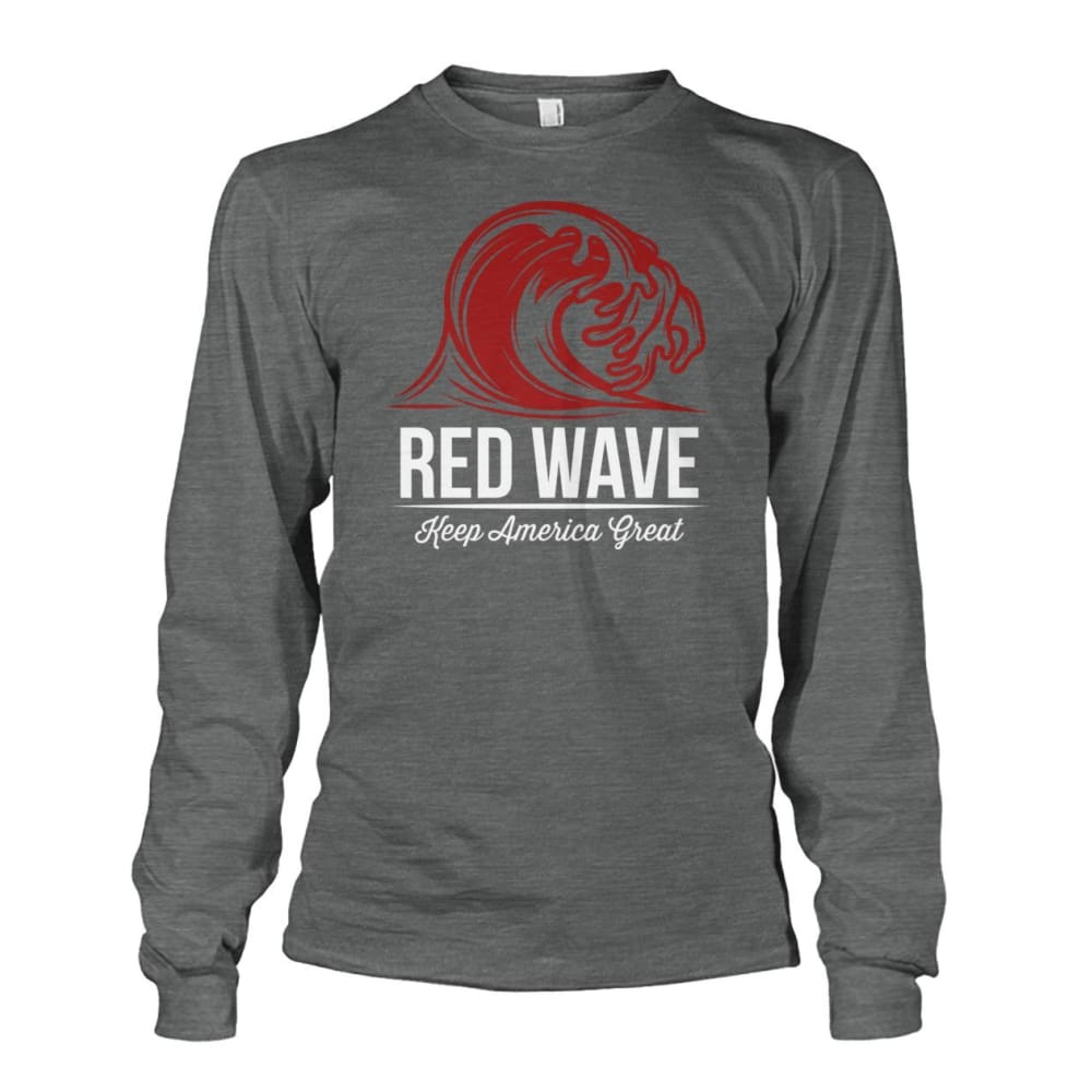 Red Wave Keep America Great Long Sleeve - Dark Heather / S / Unisex Long Sleeve - Long Sleeves