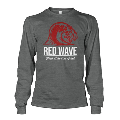 Image of Red Wave Keep America Great Long Sleeve - Dark Heather / S / Unisex Long Sleeve - Long Sleeves