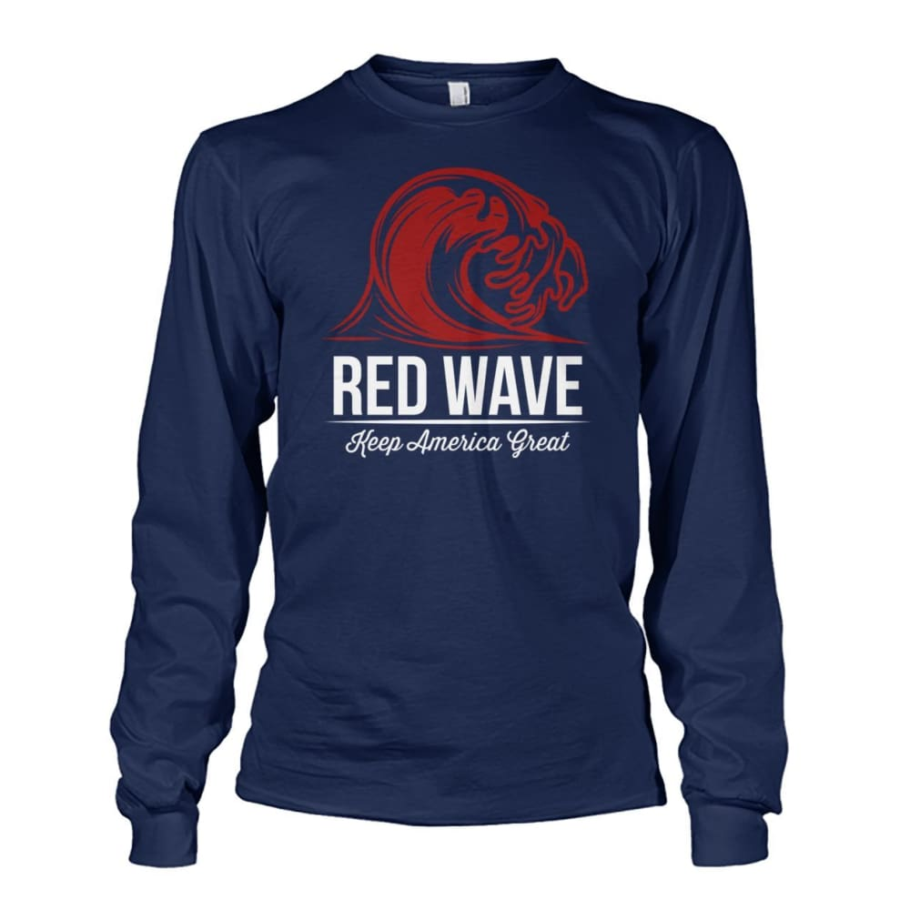 Red Wave Keep America Great Long Sleeve - Navy / S / Unisex Long Sleeve - Long Sleeves