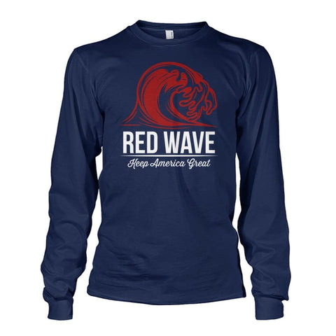 Image of Red Wave Keep America Great Long Sleeve - Navy / S / Unisex Long Sleeve - Long Sleeves