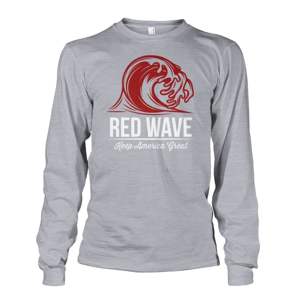 Red Wave Keep America Great Long Sleeve - Sports Grey / S / Unisex Long Sleeve - Long Sleeves