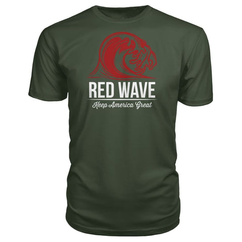 Image of Red Wave Keep America Great Premium Unisex Tee - City Green / S / Premium Unisex Tee - Short Sleeves