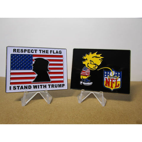 Image of Respect The Flag I Stand With Trump Anti-NFL Coin (Going Out Of Stock!)