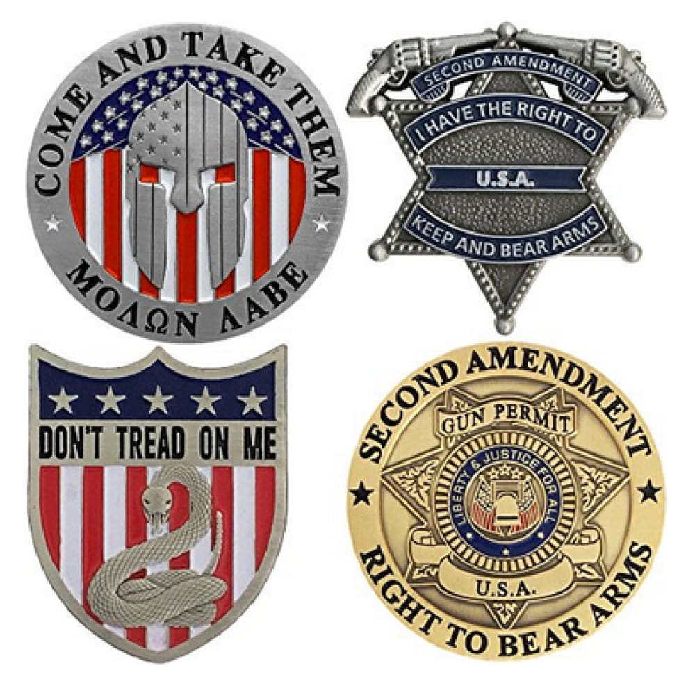 Second Amendment Pins - Patriotic Right To Bear Arms - 4 Piece Lapel Pin Set - Coin