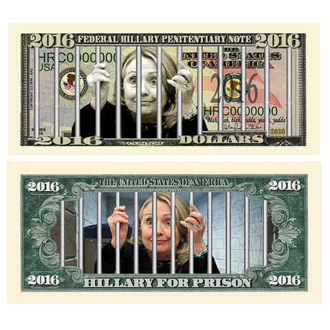 (Set of 10) Limited Edition Hillary For Prison 2016 Dollar Bills