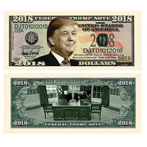 Image of (Set of 5) Limited Edition Donald Trump 2018 Federal Trump Presidential Dollar Bills