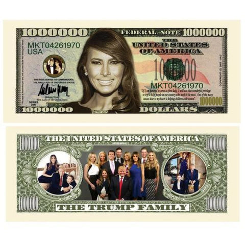 (Set of 5) Melania Trump - First Lady - First Family Million Dollar Bills