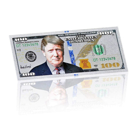 Image of Silver Plated $100 President Donald Trump Commemorative Bank Note In Currency Holder [Free Shipping!] - Trump Coins and Currency