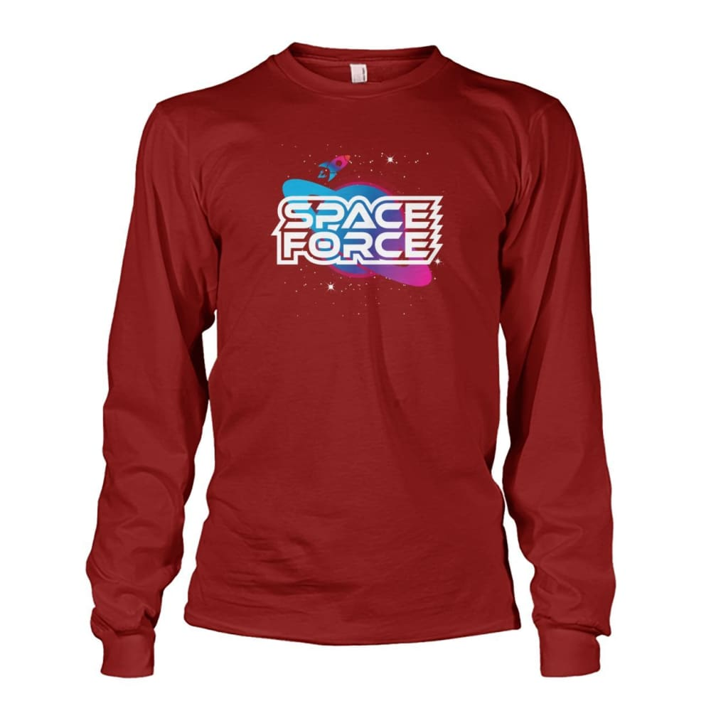 Space Force Long Sleeve - Cardinal Red / S / Unisex Long Sleeve - Long Sleeves
