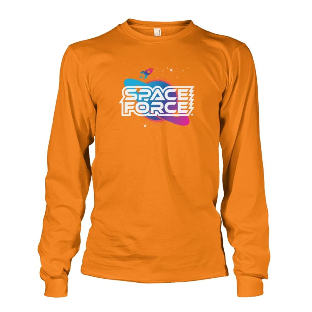 Space Force Long Sleeve - Safety Orange / S / Unisex Long Sleeve - Long Sleeves