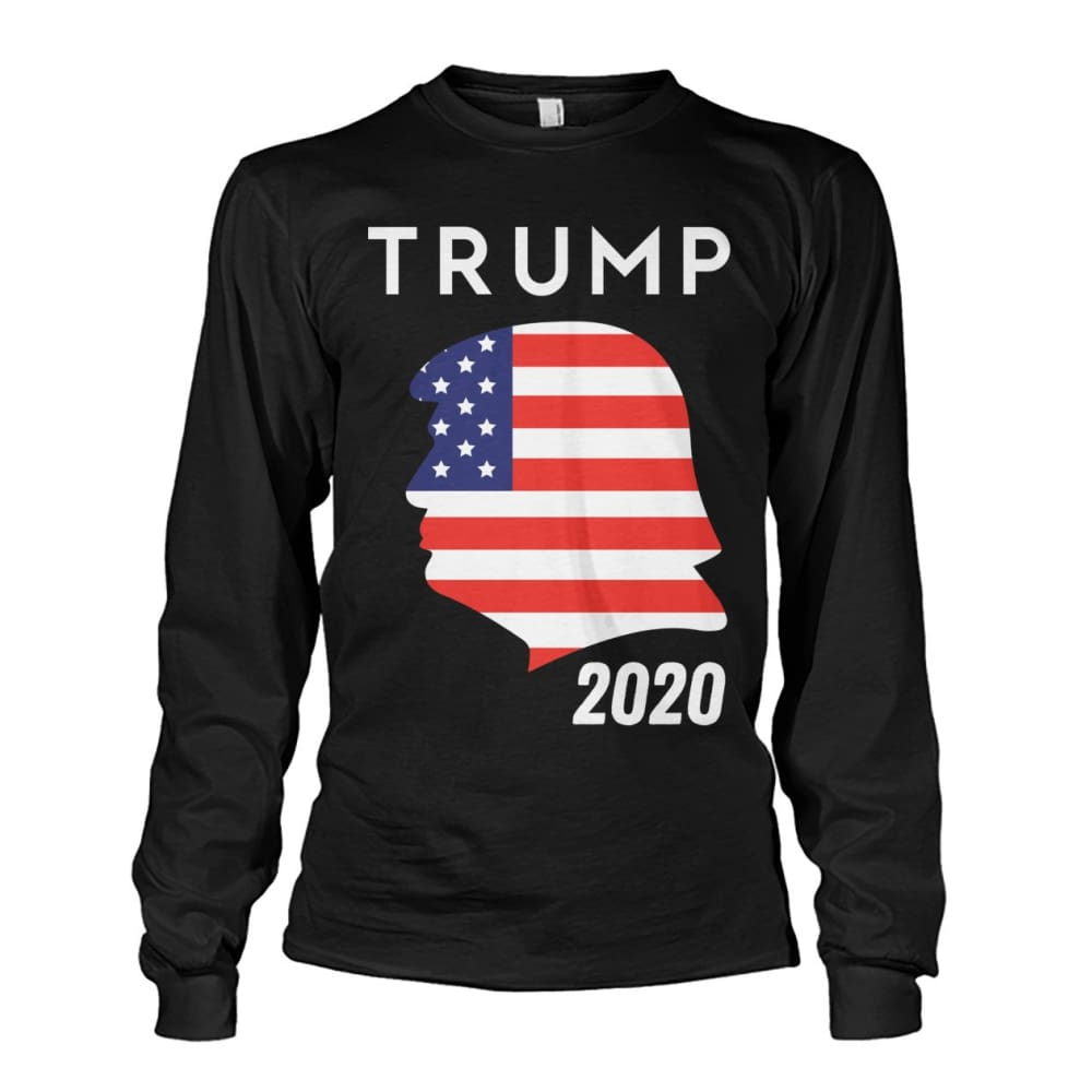 Trump 2020 Silhouette American Flag LS - Black / S / Unisex Long Sleeve - Long Sleeves