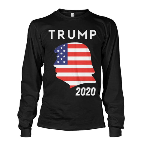 Image of Trump 2020 Silhouette American Flag LS - Black / S / Unisex Long Sleeve - Long Sleeves