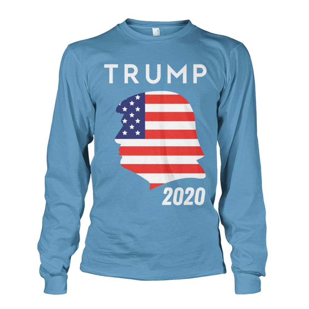Trump 2020 Silhouette American Flag LS - Carolina Blue / S / Unisex Long Sleeve - Long Sleeves