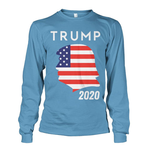 Image of Trump 2020 Silhouette American Flag LS - Carolina Blue / S / Unisex Long Sleeve - Long Sleeves