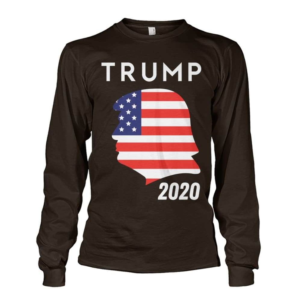 Trump 2020 Silhouette American Flag LS - Dark Chocolate / S / Unisex Long Sleeve - Long Sleeves