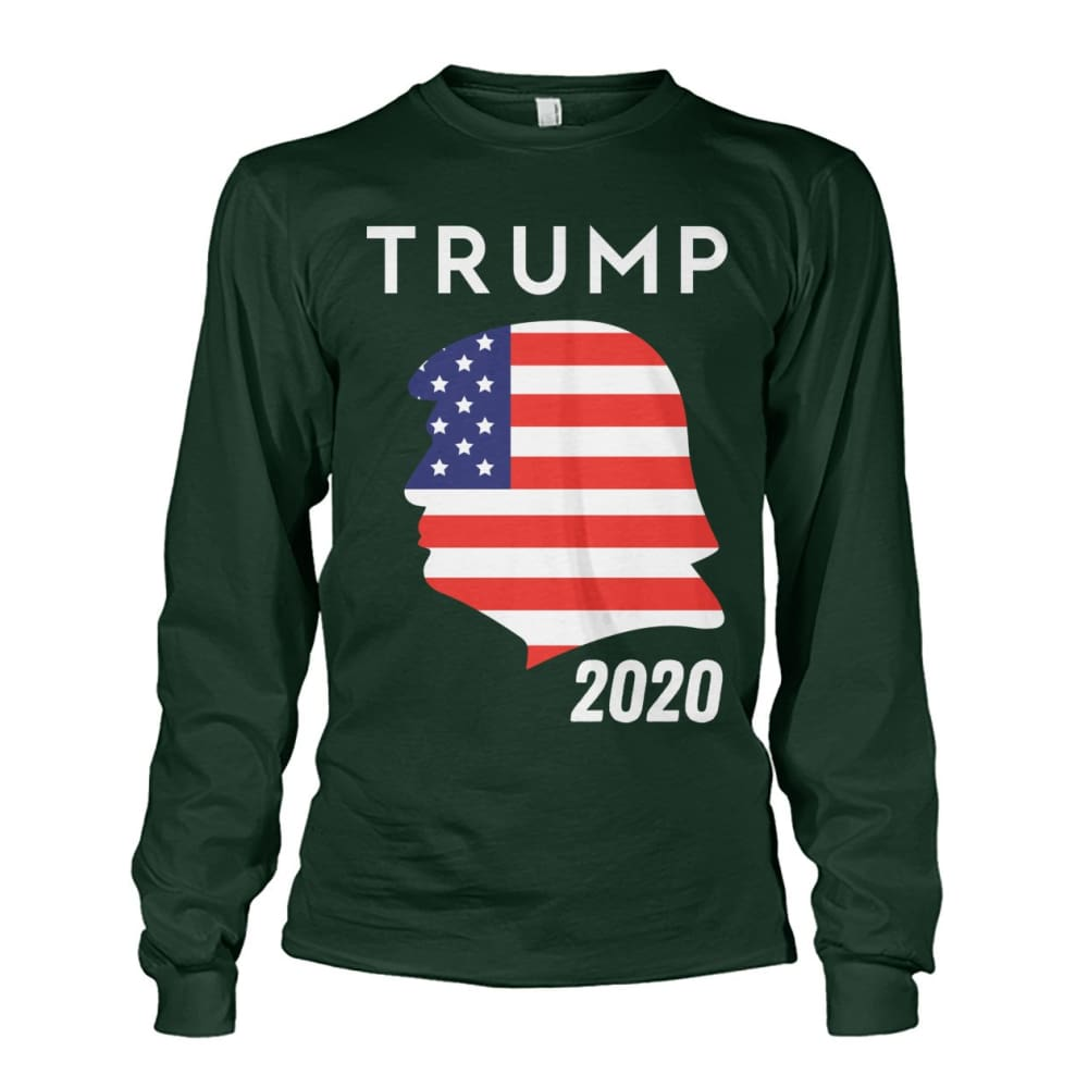 Trump 2020 Silhouette American Flag LS - Forest Green / S / Unisex Long Sleeve - Long Sleeves