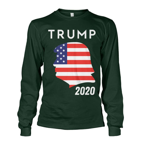 Image of Trump 2020 Silhouette American Flag LS - Forest Green / S / Unisex Long Sleeve - Long Sleeves
