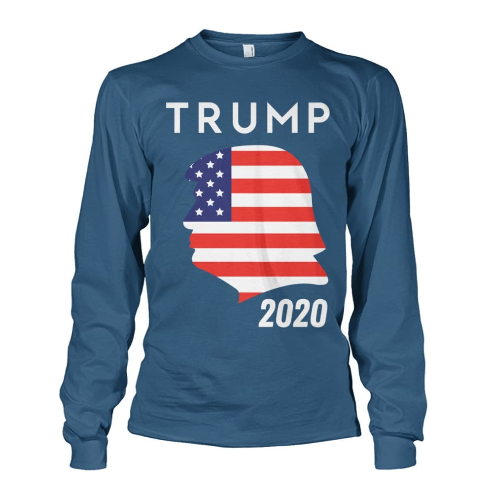 Trump 2020 Silhouette American Flag LS - Indigo Blue / S / Unisex Long Sleeve - Long Sleeves