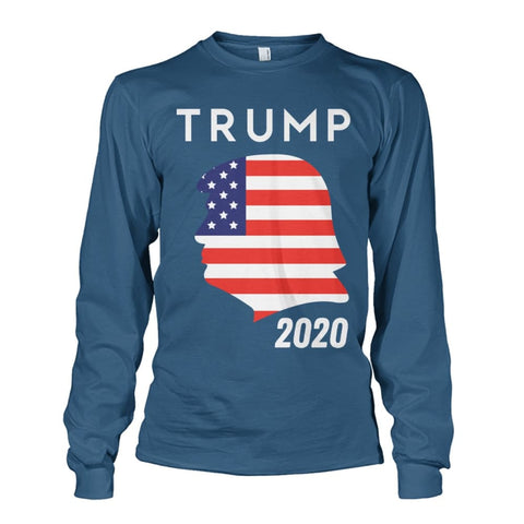 Image of Trump 2020 Silhouette American Flag LS - Indigo Blue / S / Unisex Long Sleeve - Long Sleeves