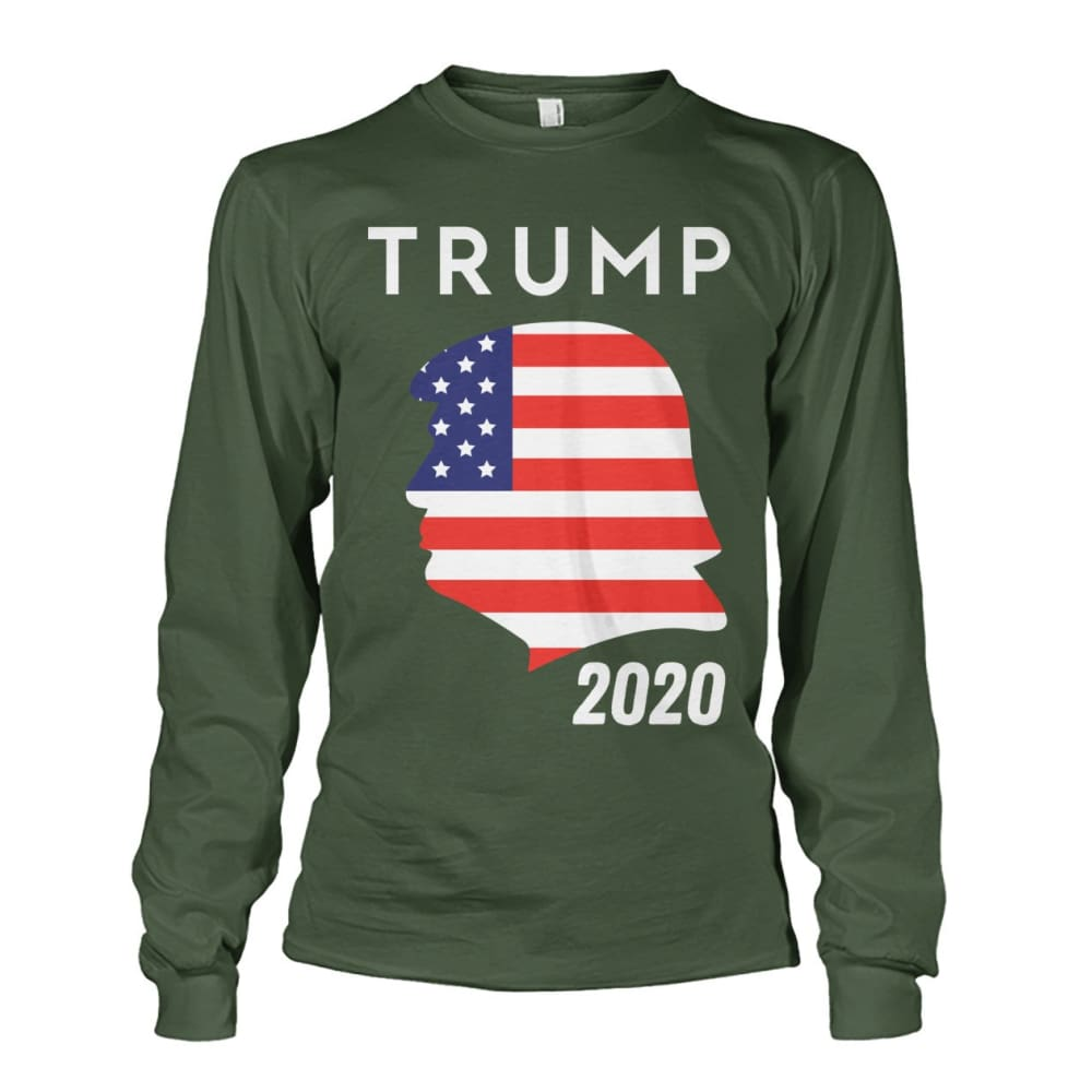 Trump 2020 Silhouette American Flag LS - Military Green / S / Unisex Long Sleeve - Long Sleeves