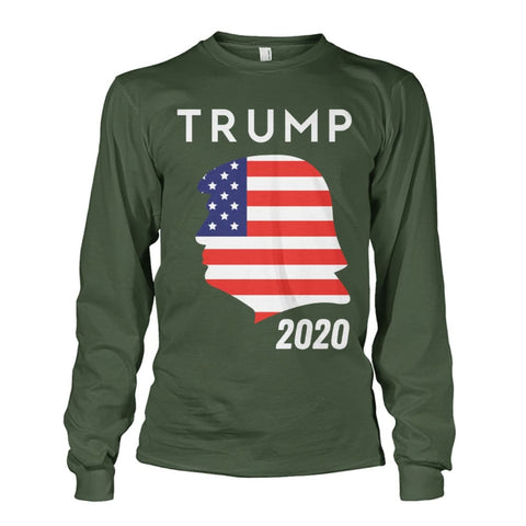 Image of Trump 2020 Silhouette American Flag LS - Military Green / S / Unisex Long Sleeve - Long Sleeves