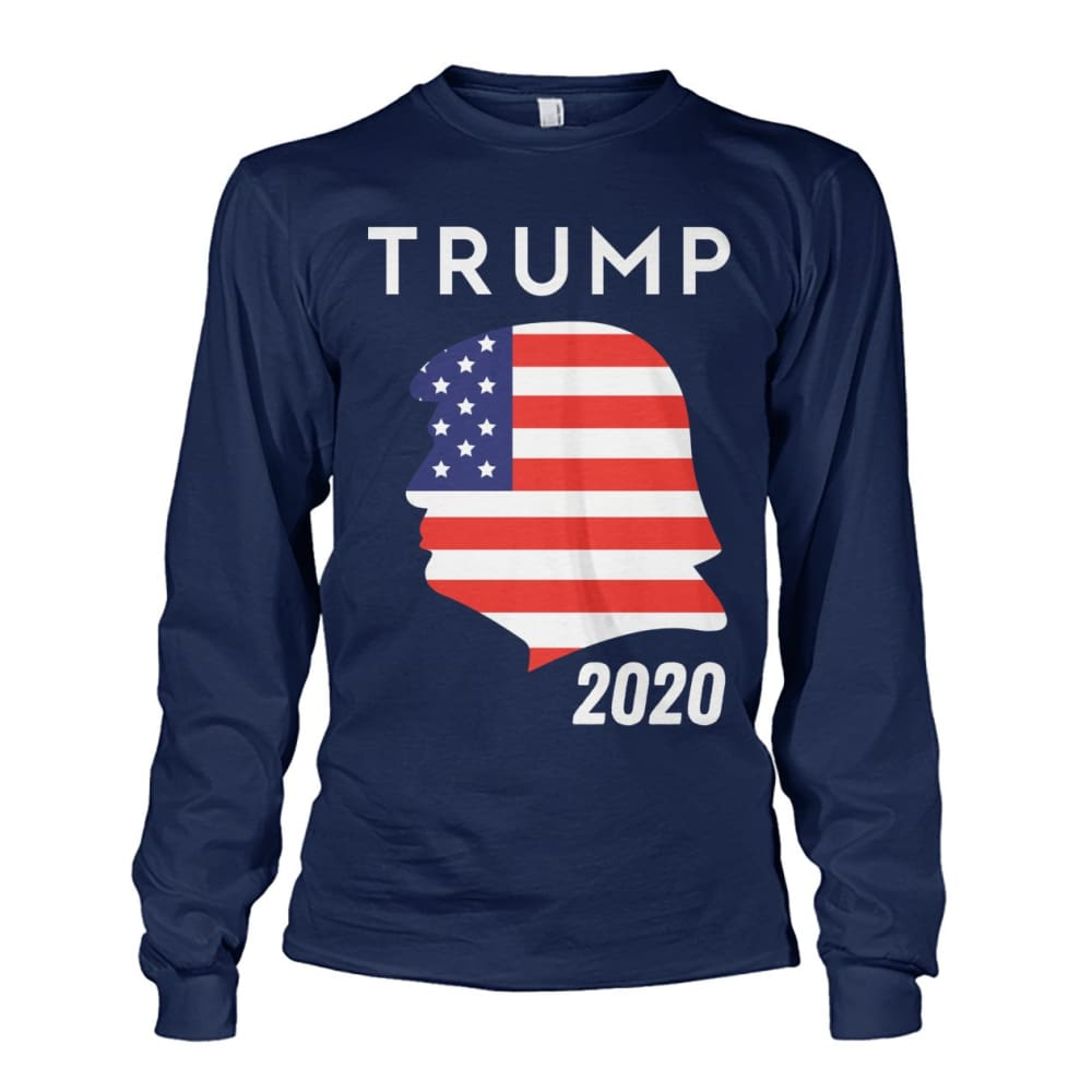 Trump 2020 Silhouette American Flag LS - Navy / S / Unisex Long Sleeve - Long Sleeves
