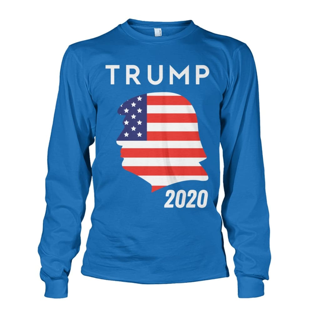 Trump 2020 Silhouette American Flag LS - Sapphire / S / Unisex Long Sleeve - Long Sleeves