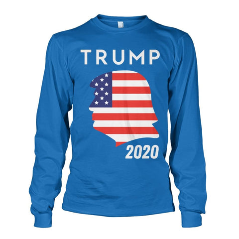Image of Trump 2020 Silhouette American Flag LS - Sapphire / S / Unisex Long Sleeve - Long Sleeves