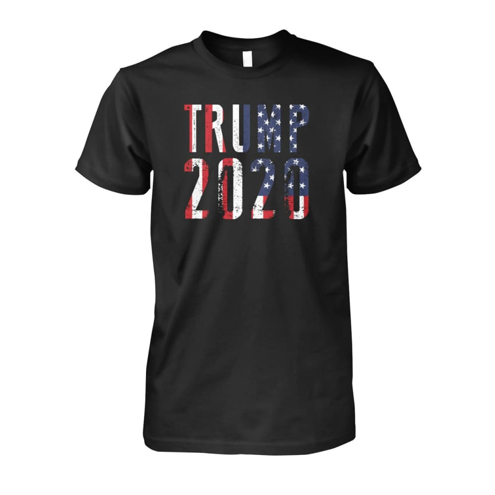 Trump 2020 Stars & Stripes - Short Sleeve - Black / S / Unisex Cotton Tee - Short Sleeves