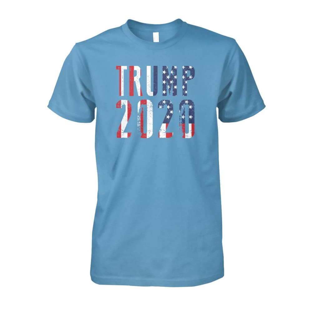 Trump 2020 Stars & Stripes - Short Sleeve - Carolina Blue / S / Unisex Cotton Tee - Short Sleeves