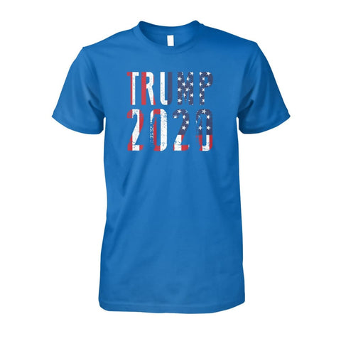 Image of Trump 2020 Stars & Stripes - Short Sleeve - Sapphire / S / Unisex Cotton Tee - Short Sleeves