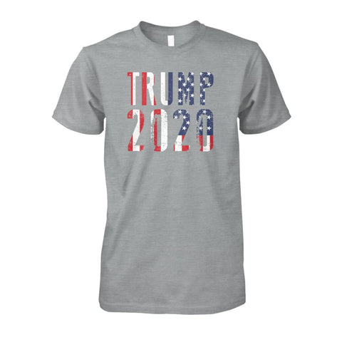 Image of Trump 2020 Stars & Stripes - Short Sleeve - Sport Grey / S / Unisex Cotton Tee - Short Sleeves