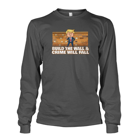 Image of Trump Build The Wall Crime Will Fall Long Sleeve - Charcoal / S - Long Sleeves