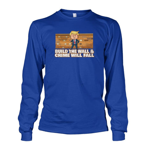 Image of Trump Build The Wall Crime Will Fall Long Sleeve - Royal / S - Long Sleeves